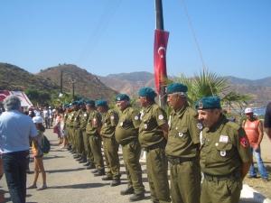 Erenköy Veterans lining the road