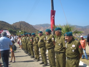 Erenköy Veterans lining the road